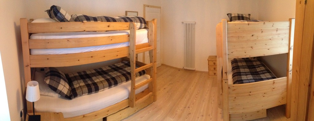 The four person bunkroom - adult sized bunks and a clean, easy layout